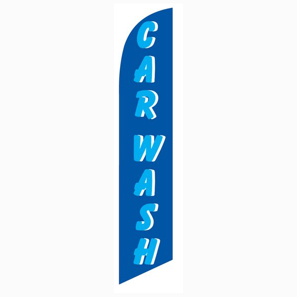 High quality polyknit mesh Car wash blue cyan feather flag for outdoor use.