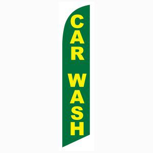 Car wash green yellow feather flag for all car wash locations to increae sales