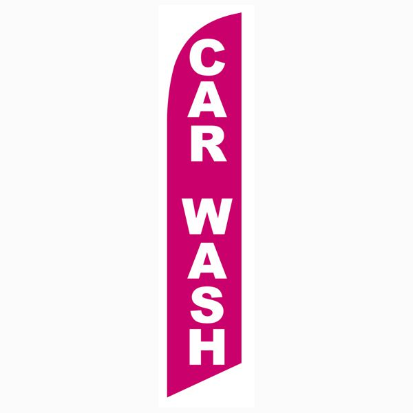 Brightly designed Car wash pink white banner flag for outdoor advertising
