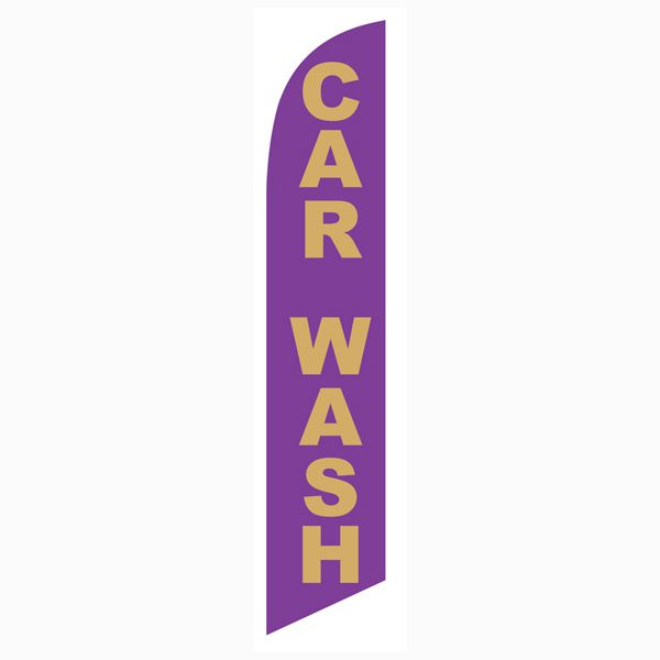 Low-cost outdoor advertising Car Wash purple gold feather flag