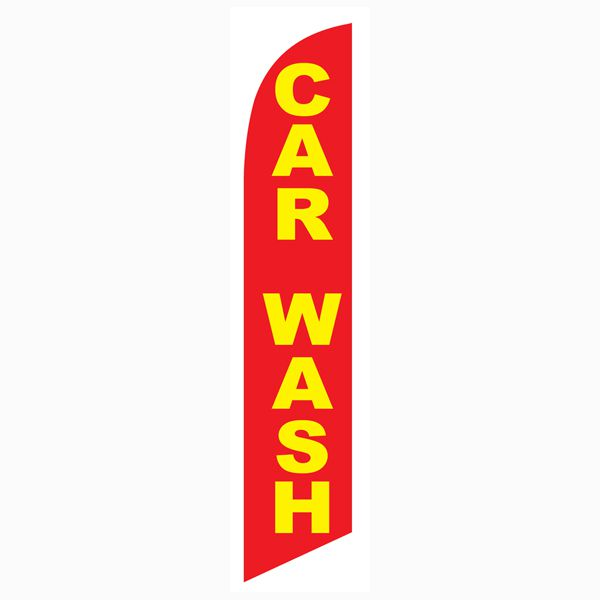 Car wash red yellow feather flag.  Great outdoor advertising banner.