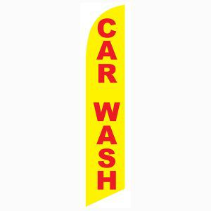 Car wash yellow red feather flag for your outdoor promotional needs.