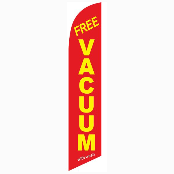 Red Free Vacuum with wash feather flag for all locations that offer it with their washes