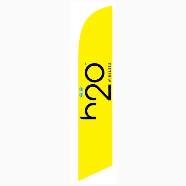H2o wireless feather flag to use as an outdoor advertising banner.