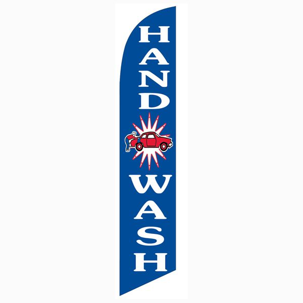 Use our blue Hand wash feather flag to let people know that their car are safe