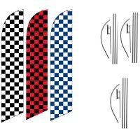 Checkered Feather Flag Package – Pack of 3 with Pre-Curved Poles & Ground Spike