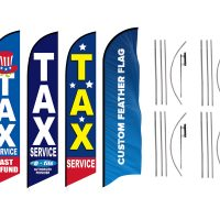 Tax Service Feather Flags & Custom Feather Flag – Pack of 4 with Pre-Curved Poles & Ground Spike