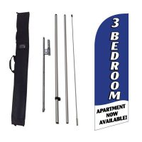 3 bedroom available blue Feather Flag Kit w/ Ground Stake and Travel Bag