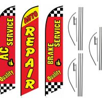 3 Pack Ac Auto Repair Brake Service Feather Flag Kits (3 Flags + 3 Pole Kits + 3 Ground Spikes)