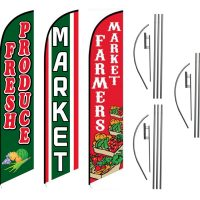 3 Pack Farmers Market Fresh Produce Feather Flag Kits (3 Flags + 3 Pole Kits + 3 Ground Spikes)
