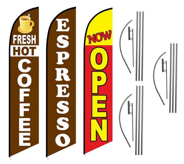 3 Pack Fresh Hot Coffee Now Open Feather Flag Kits (3 Flags + 3 Pole Kits + 3 Ground Spikes)