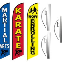 3 Pack Marial Arts Now Enrolling Karate Feather Flag Kits (3 Flags + 3 Pole Kits + 3 Ground Spikes)