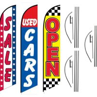 3 Pack Sale Used Cars Open Checkered Feather Flag Kits (3 Flags + 3 Pole Kits + 3 Ground Spikes)