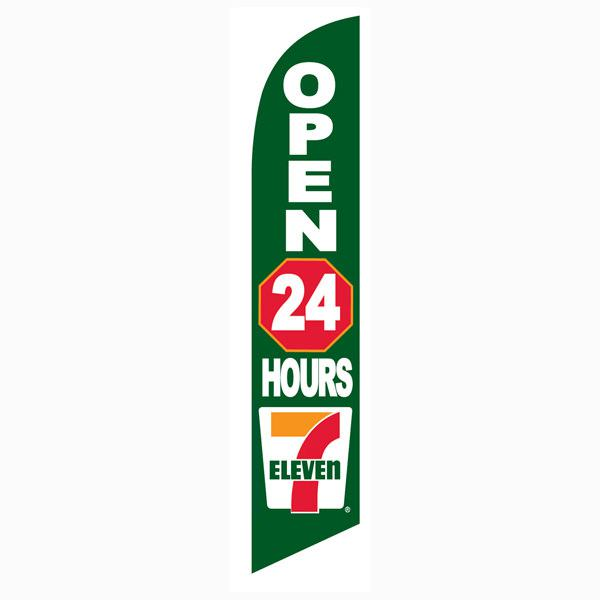 7-11 Eleven Open 24 Hours feather flag to use as your outdoor banner