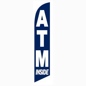 ATM Inside feather flag Blue Swooper Banner Sign 12 feet tall