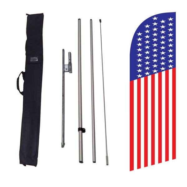 Our small American feather flag stands 8ft tall with our hardware