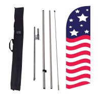Patriotic American medium Banner Flag Kit w/ Ground Stake and Travel Bag
