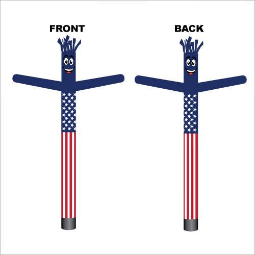 American flag air dancer inflatable man. A must have for all patriotic holiday advertising campaigns.