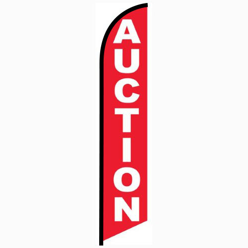 Auction red feather flag