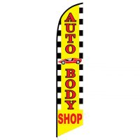 Auto Body Shop with Car Graphic Feather Flag