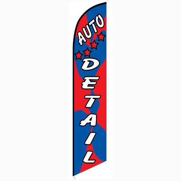 Auto detail red blue feather flag