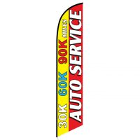 Auto Service 30K 60K 90K Yellow Red Banner Flag