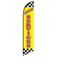 Auto Services Yellow Checkered Feather Flag