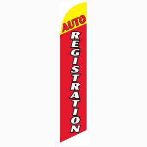 Auto Registration Feather Flag 12ft tall Swooper Banner Yellow and Red