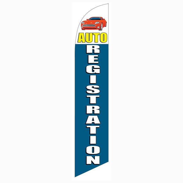 Auto Registration Banner Flag High Quality Blue Swooper Banner 12ft Tall