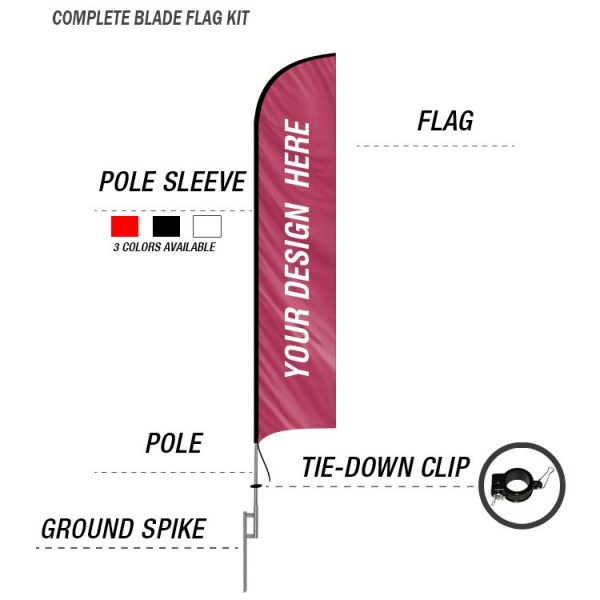 blade feather banner flag custom with ground spike kit