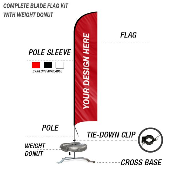 blade feather banner swooper custom flag kit with cross base stand