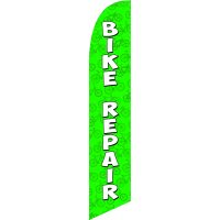 Bike Repair Green Feather Flag Kit with Ground Stake
