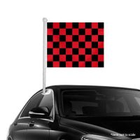 Black Red checkered Window Clip-on Flag