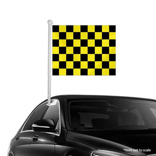 Black Yellow checkered Window Clip on Flag