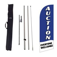Auction blue Feather Flag Kit w/ Ground Stake and Travel Bag