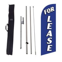 For Lease blue Feather Flag Kit w/ Ground Stake and Travel Bag