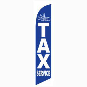 Blue Liberty Tax feather flag for Outdoor Business Advertising