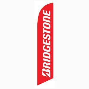 Bridgestone banner flag is a solid red flag with white lettering.
