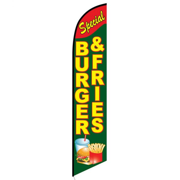 Burgers Fries Feather Flag