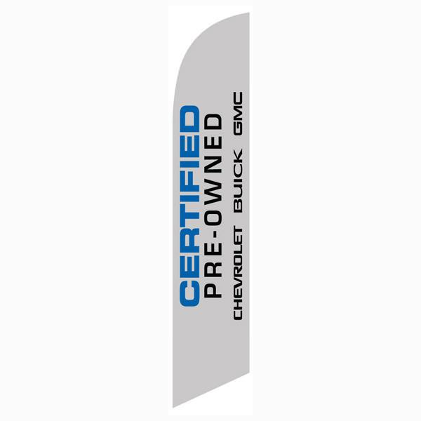 Chevrolet Buick GMC CPO feather flag is a solid gray with blue/black letters.