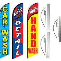 Car Wash 3 Pack Hand Detail Feather Flag Kits (3 Flags + 3 Pole Kits + 3 Ground Spikes)
