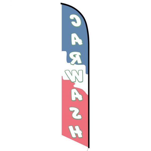 Car wash blue red banner flag