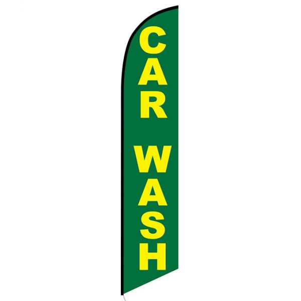 Car wash green yellow feather flag
