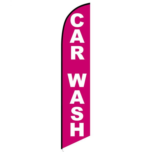 Car wash pink white banner flag