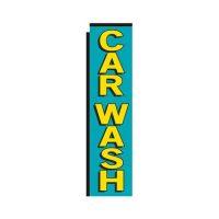 teal Car Wash rectangle flag