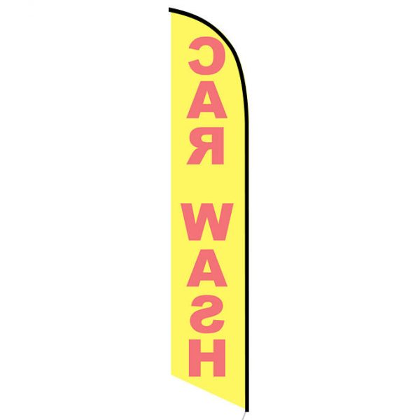 Car wash yellow red feather flag