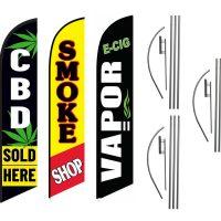 Cbd Vape Smoke Shop Sold Here Feather Flag Kits (3 Flags + 3 Pole Kits + 3 Ground Spikes)