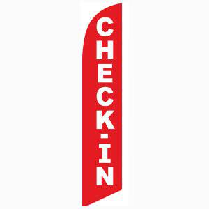 Check-in feather flag Red Full Sleeve Advertising Flag 12 feet tall