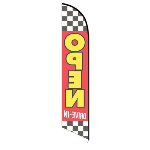 Checkered-open-drive-in-feather-flag-5767