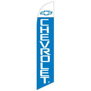 Chevrolet feather flag is a bright blue and white feather flag.